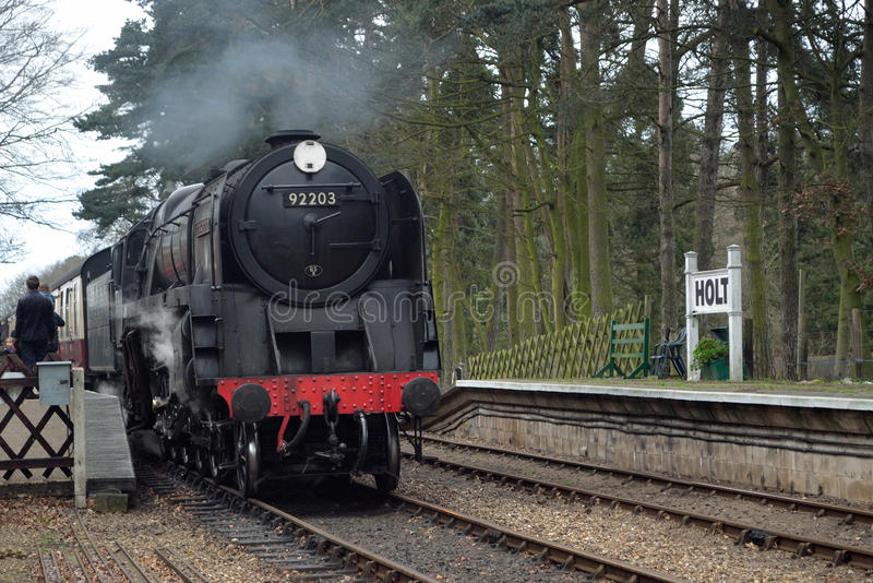 92203 Black Prince at Holt station on the North Norfolk Railway stock images