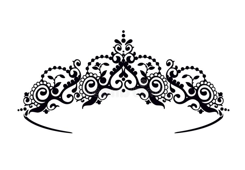Black princess diadem on a wight background. The crown. Vector illustration. royalty free illustration