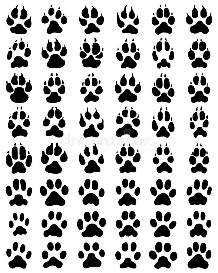 Black print of paws of dogs and cats royalty free illustration