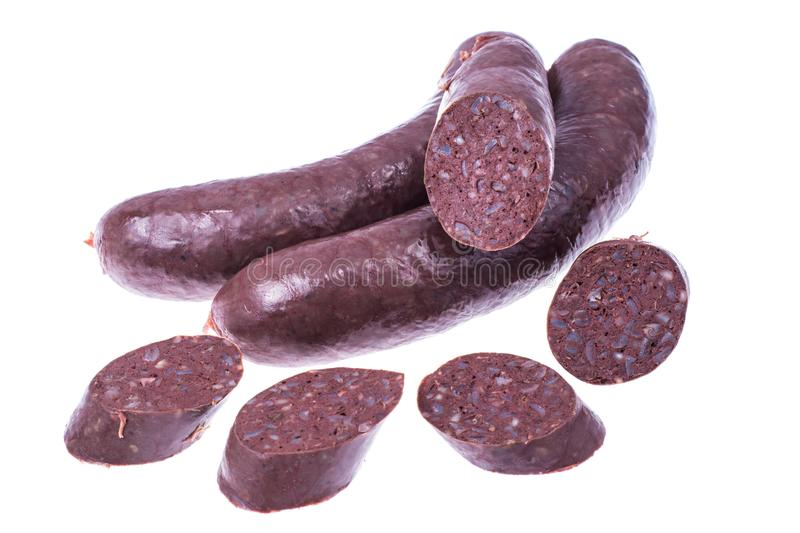 Black pudding, blood sausage cut into pieces royalty free stock photos