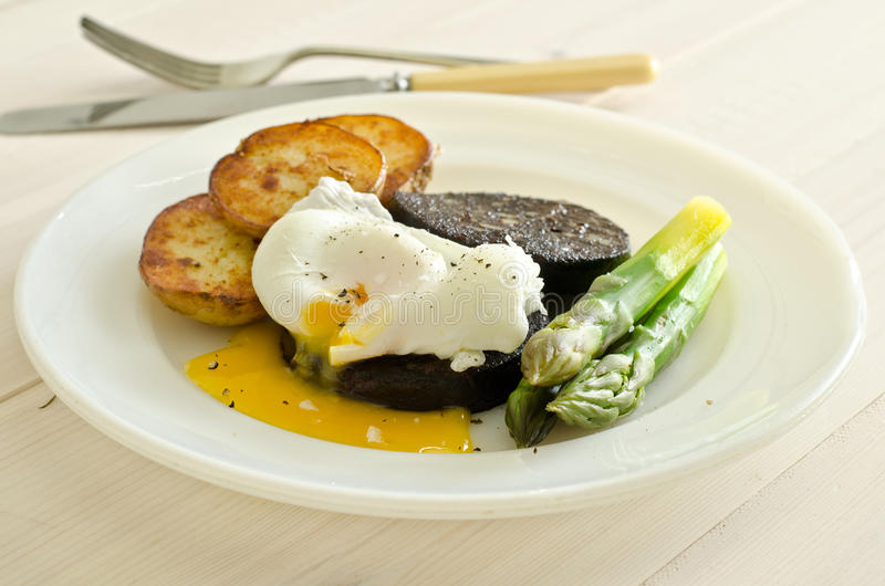 Black pudding with poached egg. A meal of black pudding and poached egg with asparagus and saute potatoes stock image