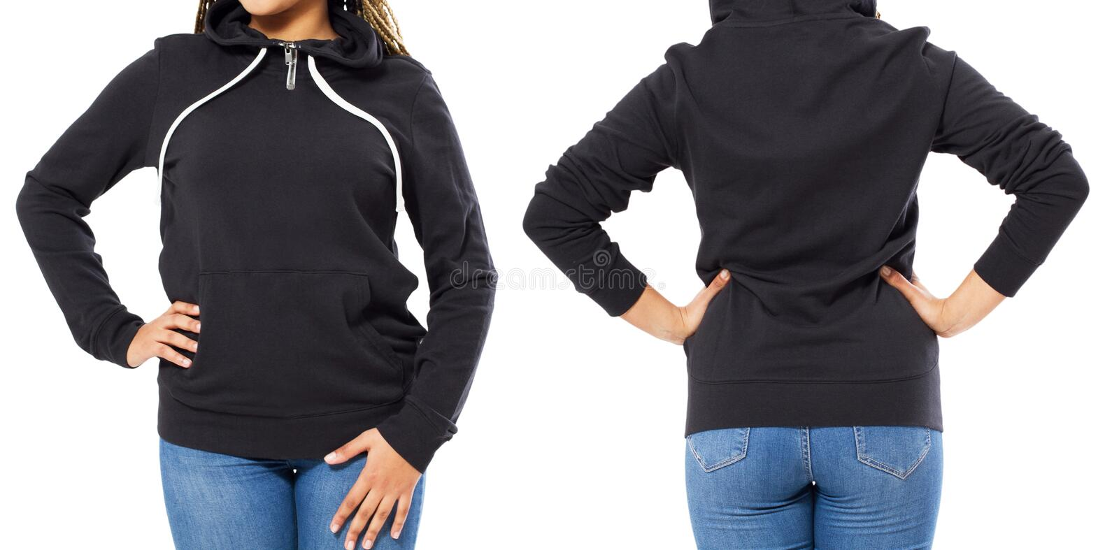 Black pullover witj hood, long sleeve baseball hoodie on a young woman , with dreadlocks, isolated, with copy space, mock up stock images