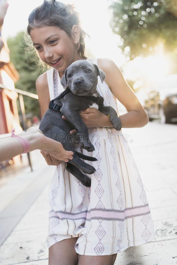 Black puppy playing with a girl. Puppy with girl spend a day at the outdoor playing and having fun. Concept of love for nature, protection of animals,innocence royalty free stock photos