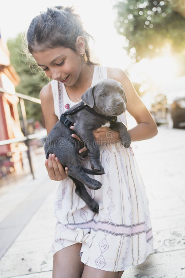 Black puppy playing with a girl. Puppy with girl spend a day at the outdoor playing and having fun. Concept of love for nature, protection of animals,innocence royalty free stock image