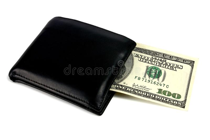 Black purse and dollars