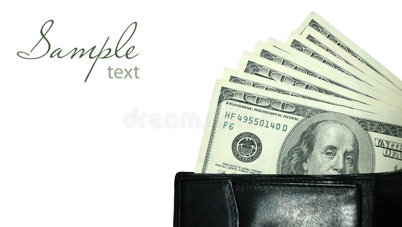 Download Black purse with dollars stock photo. Image of bucks - 22379964
