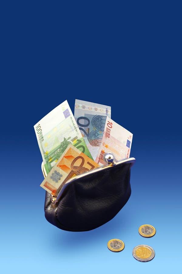 Black purse full of money