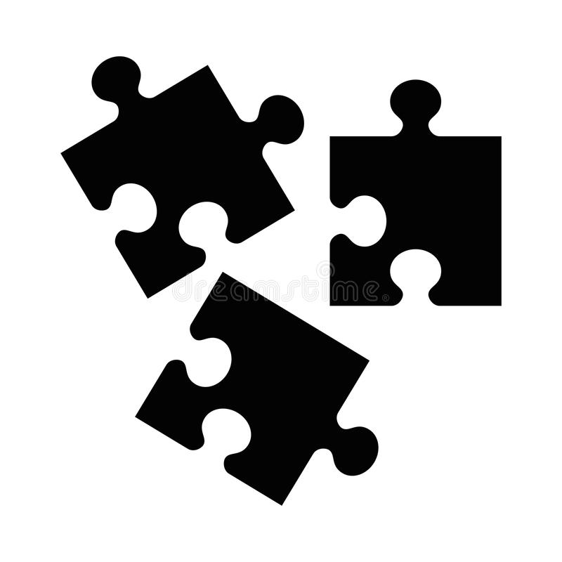 Black puzzle icon. Flat vector cartoon illustration. Objects isolated on a white background royalty free illustration