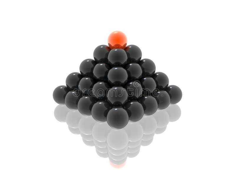 Black pyramid with red ball. (see more in my portfolio royalty free stock photography