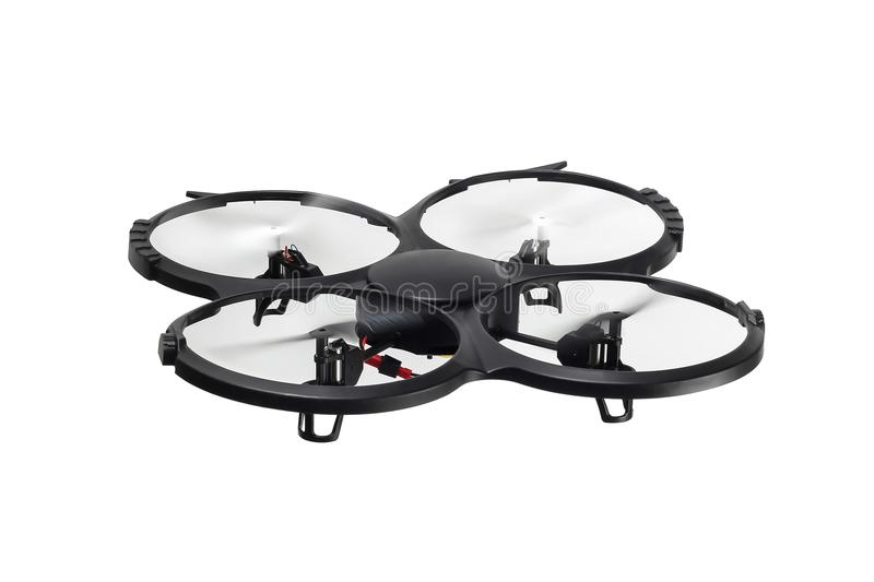 Dron in flight on a white background royalty free stock photography