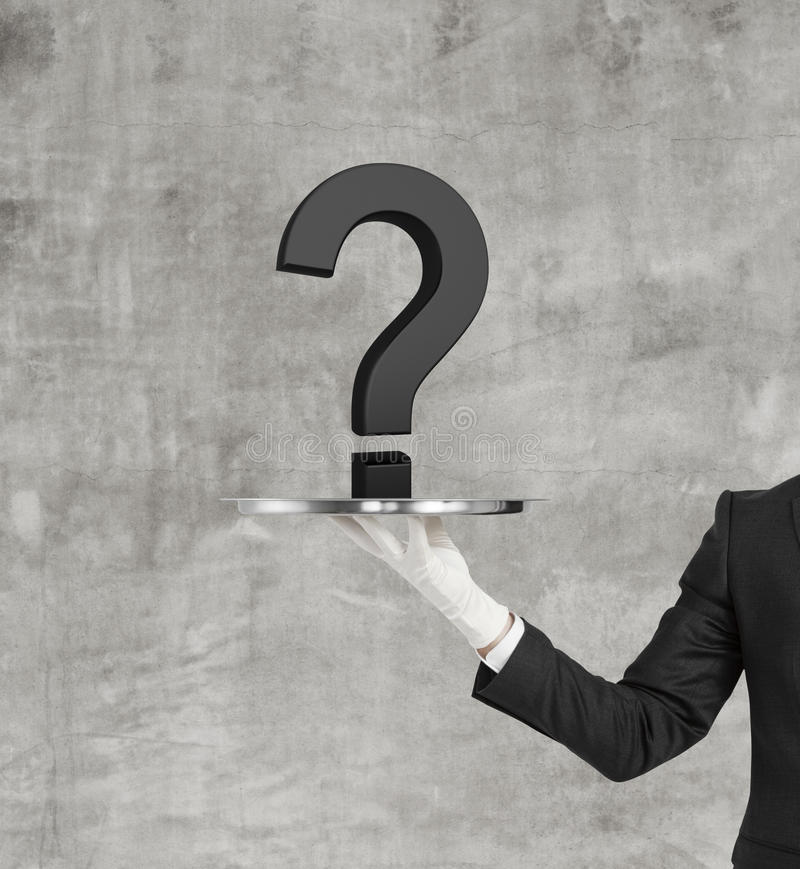 Black question mark. Hand holding silver plate with black question mark stock photo