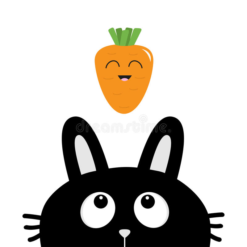 Black rabbit bunny face head silhouette looking up to smiling carrot vegetable. Cute cartoon funny character. Kawaii animal. Black rabbit bunny face head vector illustration
