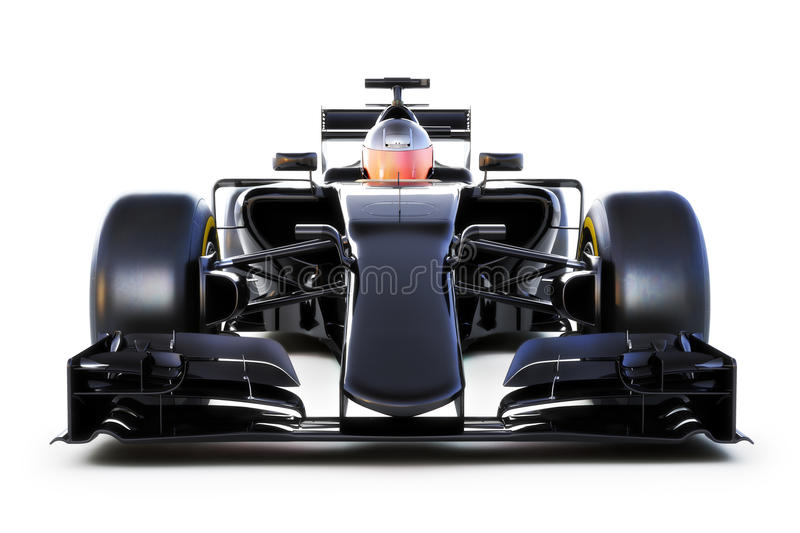 Black Race car front view on a white isolated background.Generic 3d rendering royalty free illustration