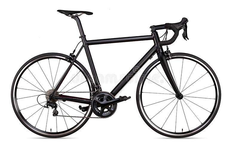 Black racing sport road bike bicycle racer isolated. On white background stock photography