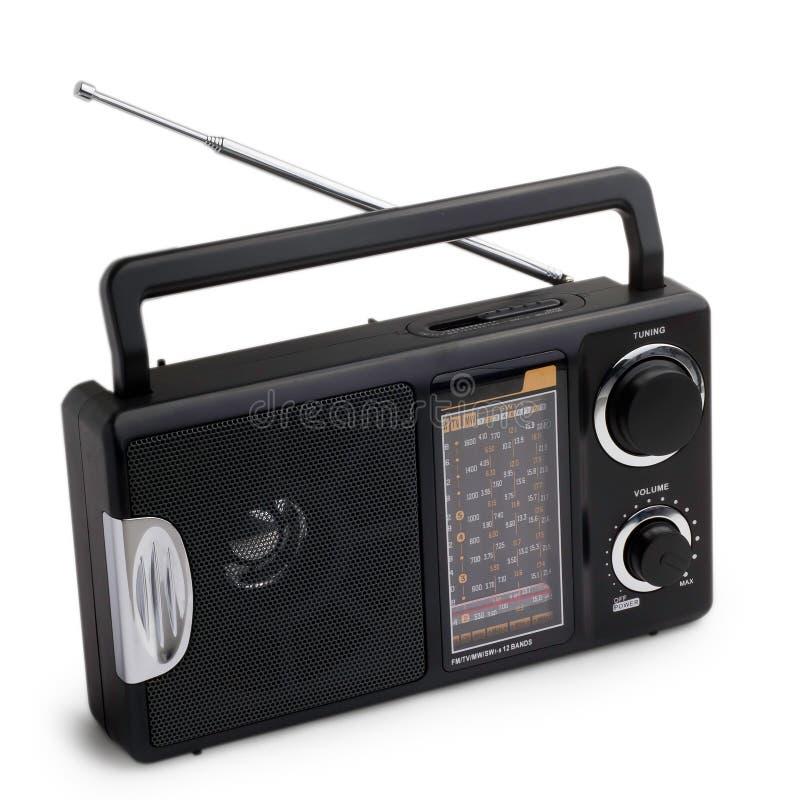 Black radio isolated on white background stock illustration