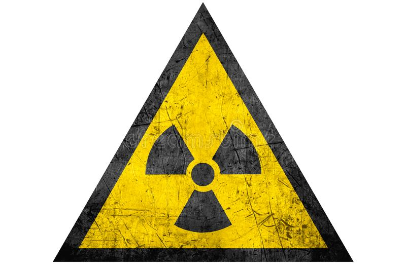 Black radioactive sign in yellow riangle. Isolated on white background stock photo
