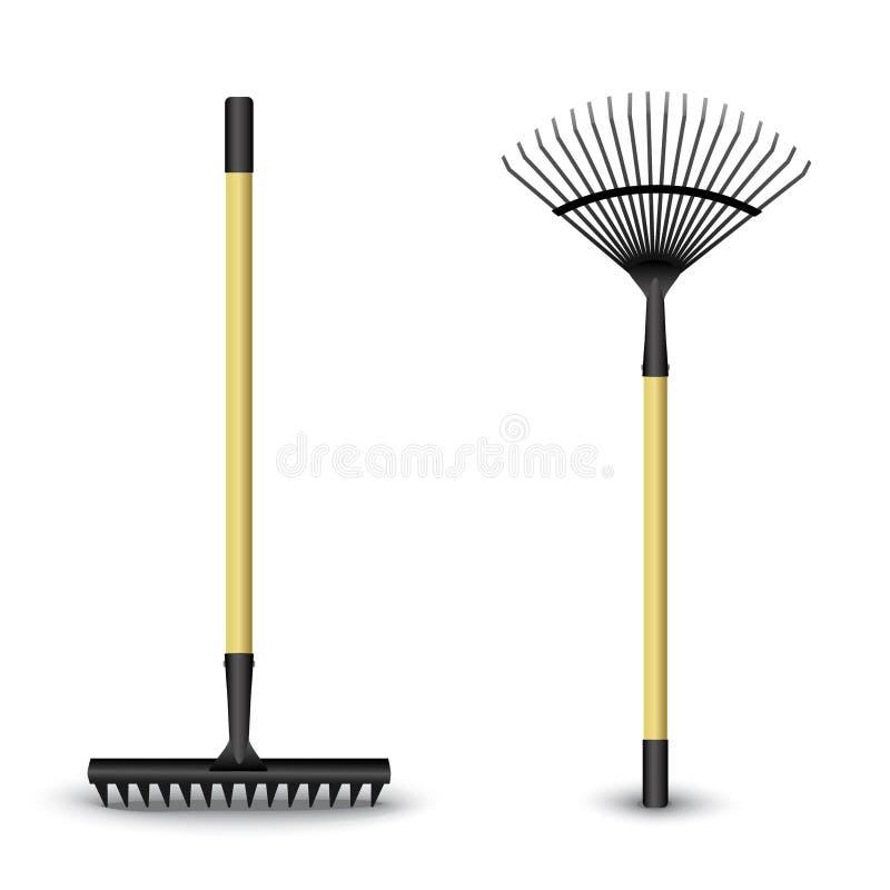 Black rake isolated on a white background. Vector illustration royalty free illustration