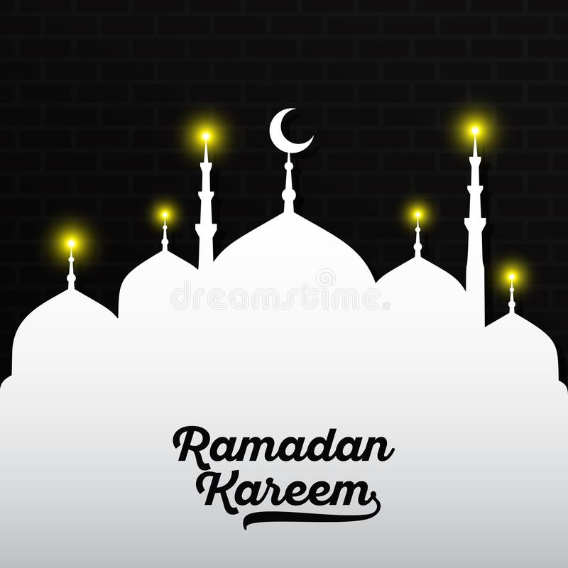 Black Ramadan Kareem lettering on white mosque with yellow light and dark black brick wall. Vector illustration stock illustration