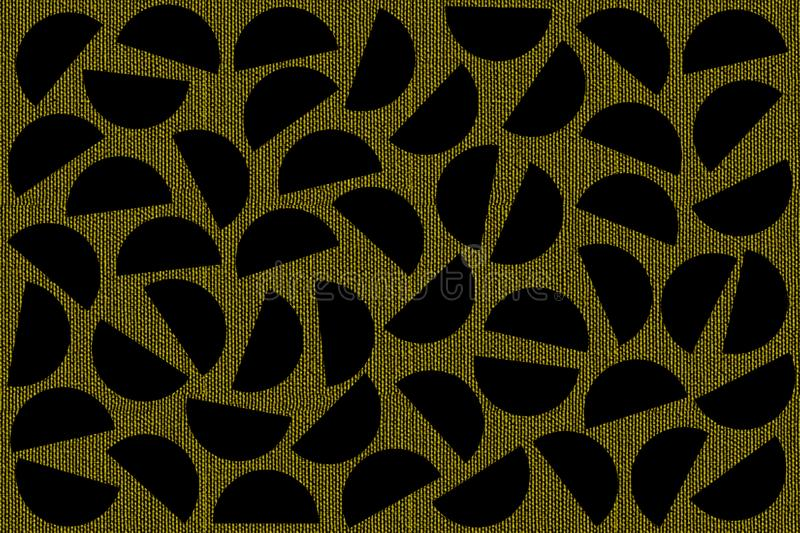 Black random semicircles on khaki canvas background. Abstract geometric pattern in retro style for fabric print, textile, decor vector illustration