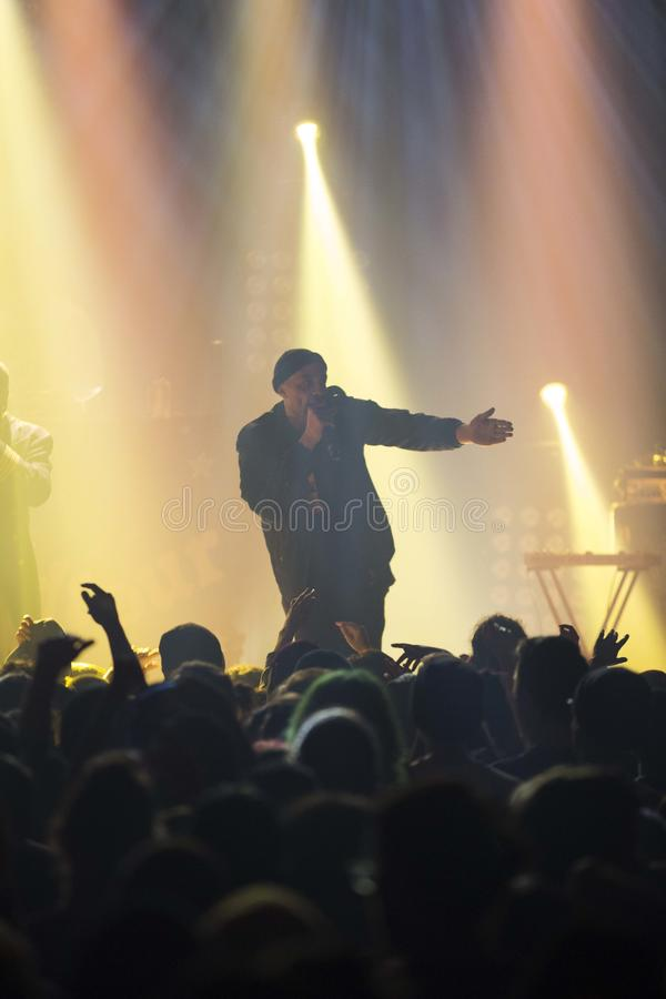 Black rapper. Performing during a show in Montreal stock photo