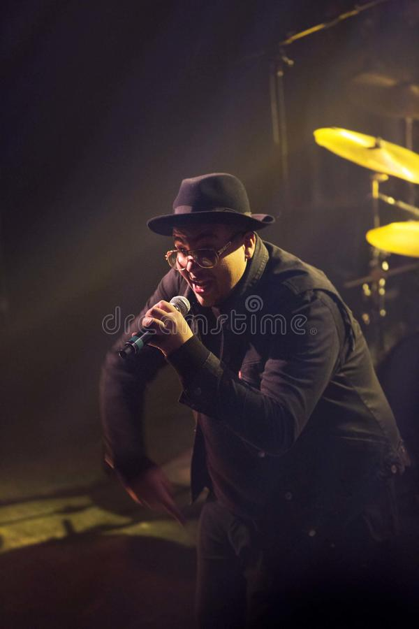 Black rapper. Singing with old school RunDMC style royalty free stock photos