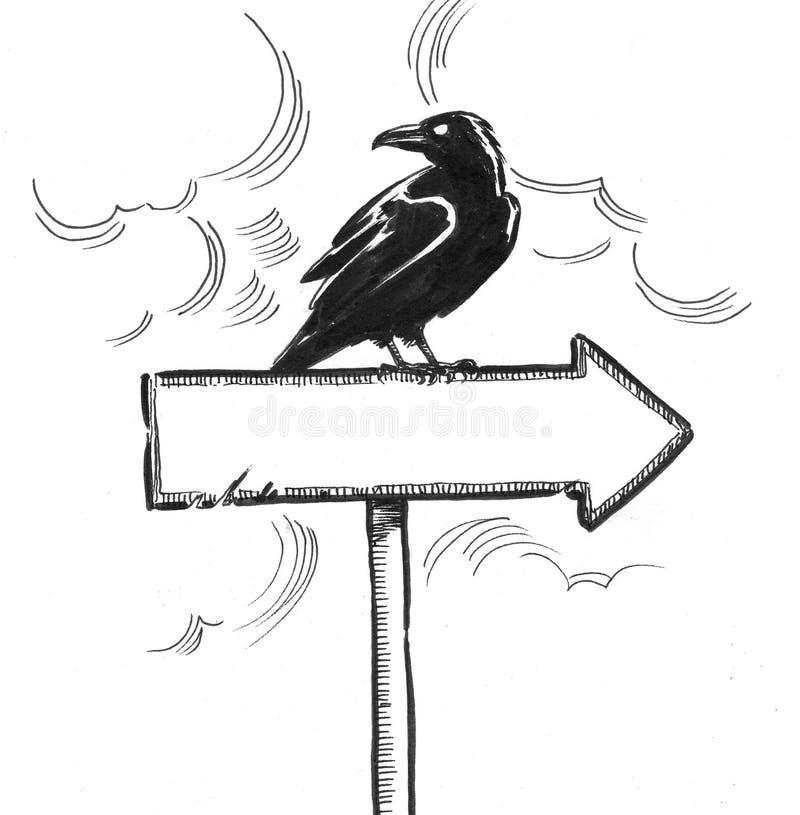 Black raven and arrow royalty free illustration