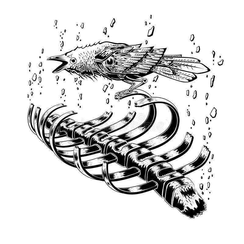 black raven bird stay on rib skeleton. crow bird. broken stone floating on sky. anatomy art. tattoo design. stock illustration