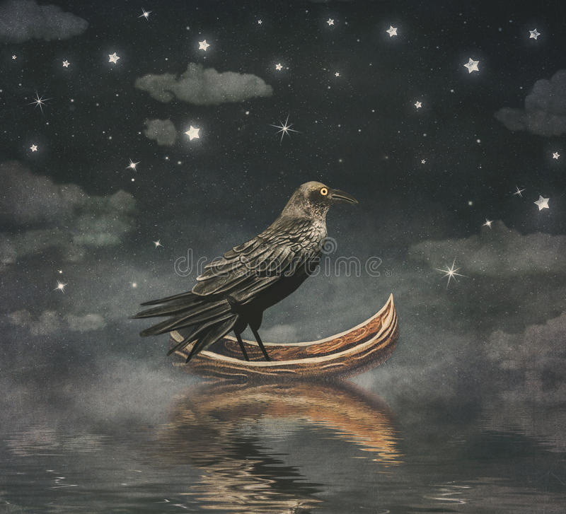 Black Raven in a boat at the river magical night royalty free illustration