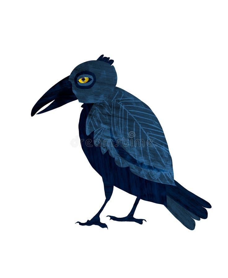 Black raven.Cartoon illustration on white backdrop stock illustration