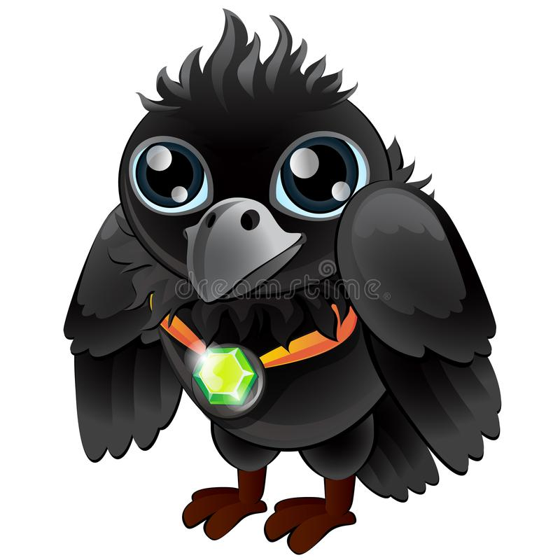Black Raven with green emerald pendant. Cartoon bird character. Vector isolated on white background vector illustration