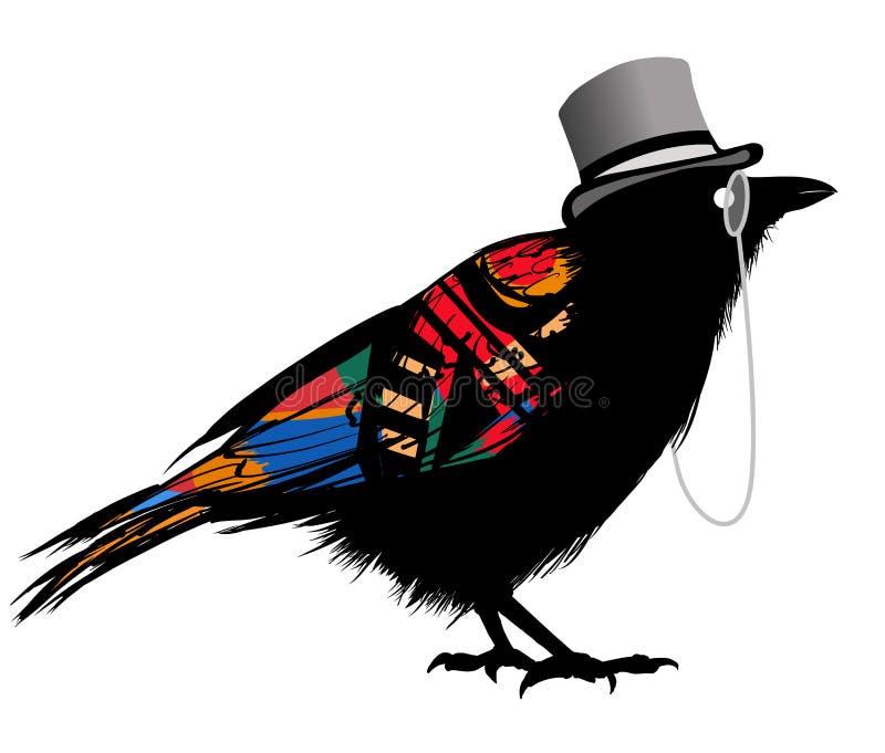 Black raven with hat stock illustration