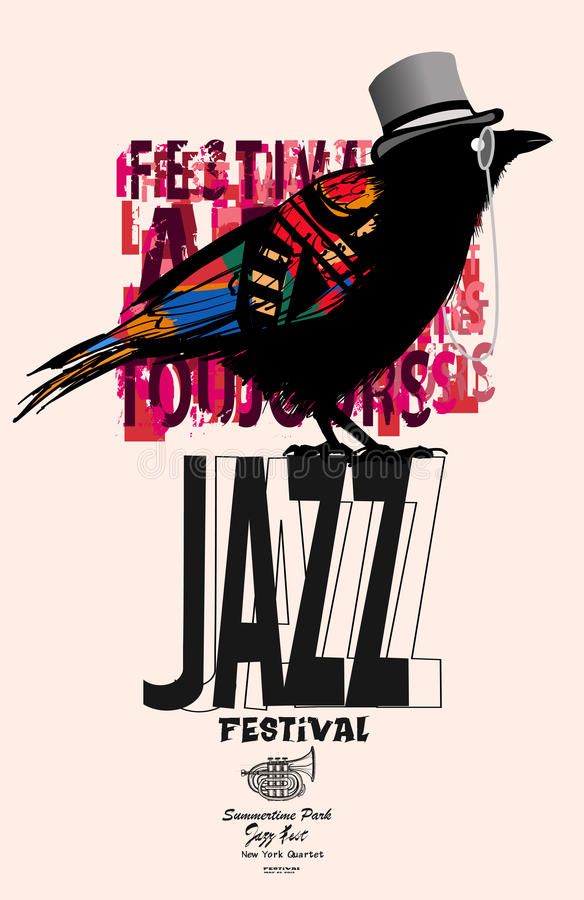 Black raven jazz poster vector illustration
