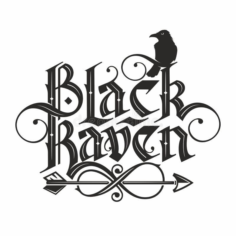 Black raven lettering royalty free illustration