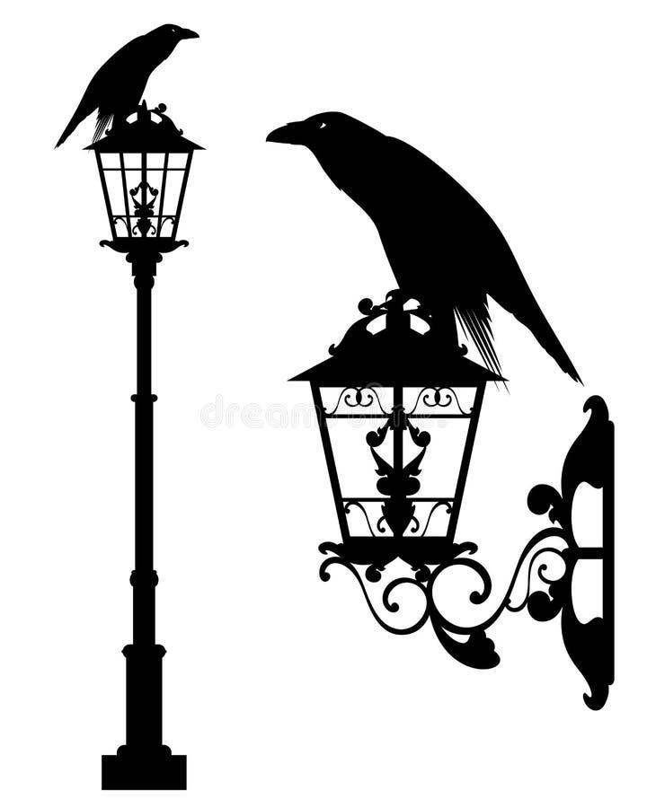 Free Black Raven On Street Light Vector Design Stock Photography - 119894582