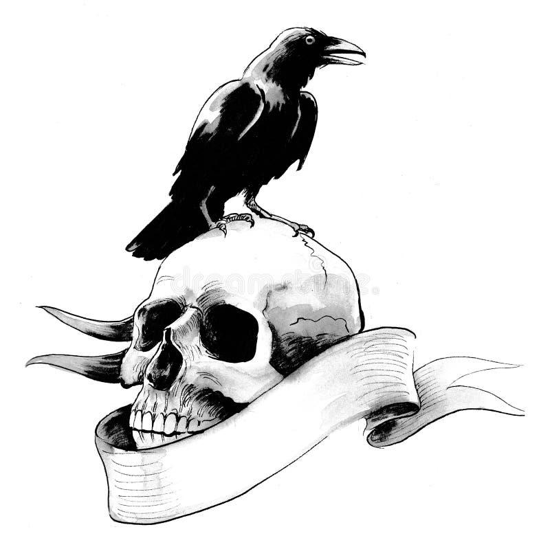 Black raven and skull stock illustration