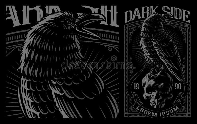 Black Raven on the skull on dark background. stock illustration