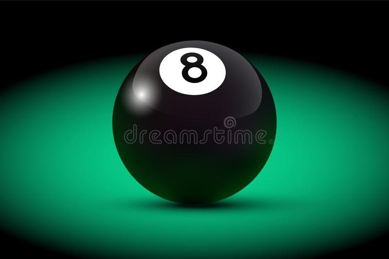 Black realistic billiard eight ball on green table. Vector billiard illustration. royalty free illustration