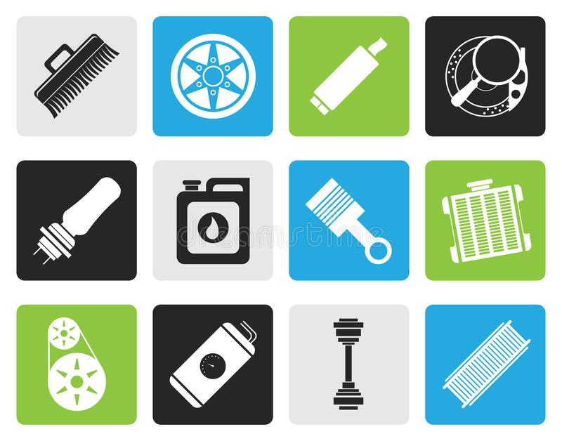 Black Realistic Car Parts and Services icons vector illustration