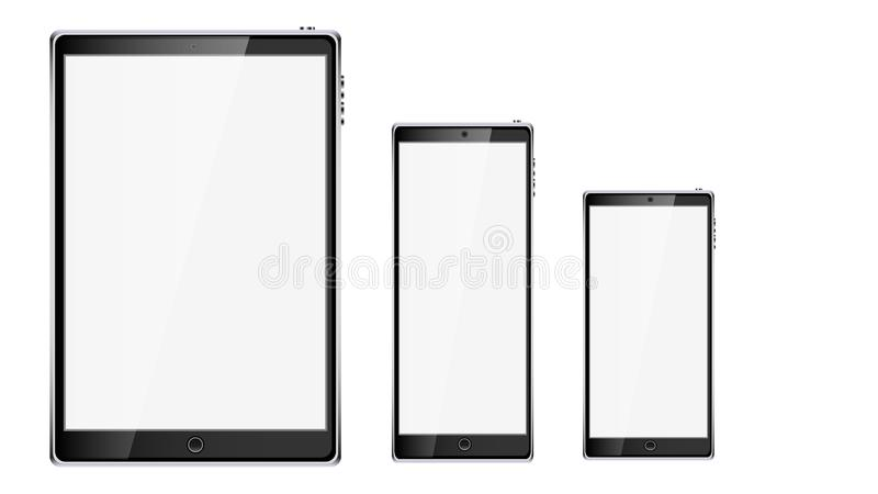 Black realistic mobile smart touchscreen tablet computer and two mobile phones, smartphone with glossy blank screen with copy spac vector illustration