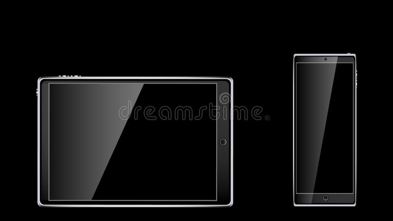 Black realistic mobile touch smart tablet computer and two mobile phones, smartphone with glossy blank screen with copy space isol. Ated on black background vector illustration