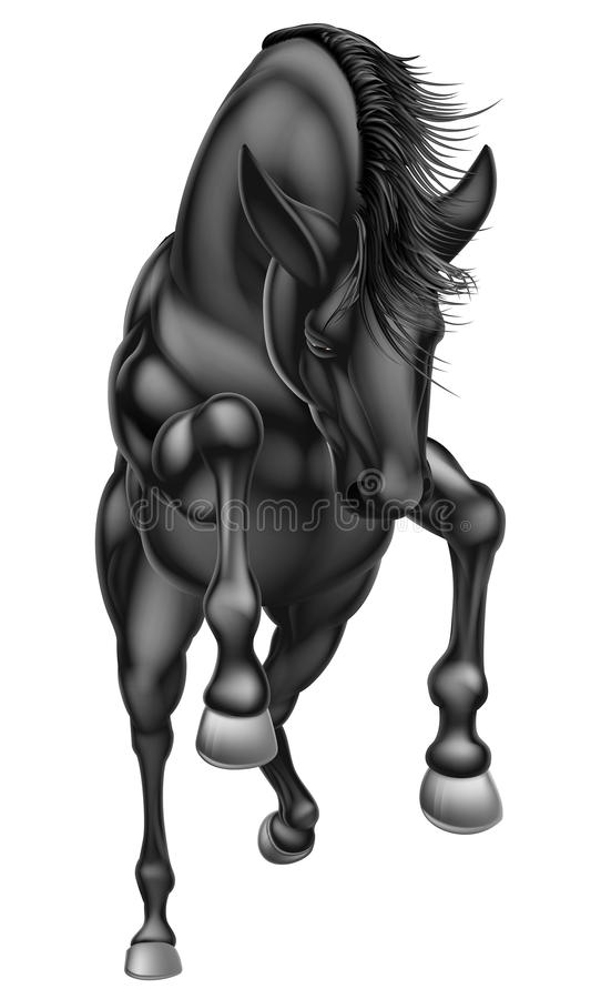 Black rearing horse front 2016 A1 royalty free illustration