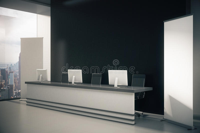 Black reception desk side. Side view of black interior with New York city view, blank posters, empty wall and reception desk with computer monitors. Mock up, 3D vector illustration