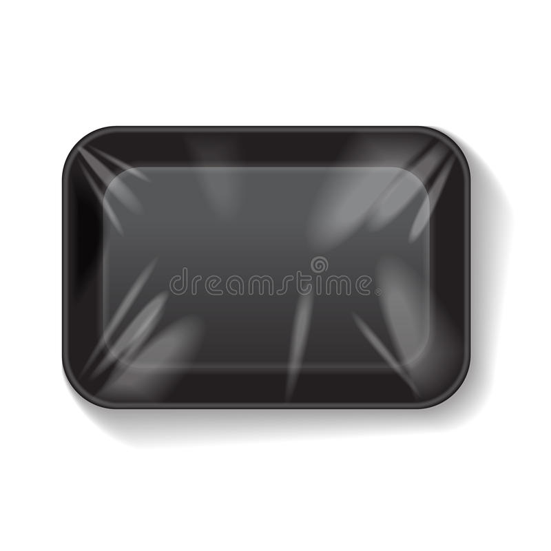 Black Rectangle Blank Styrofoam Plastic Food Tray Container. Vector Mock Up Template. For your design royalty free illustration