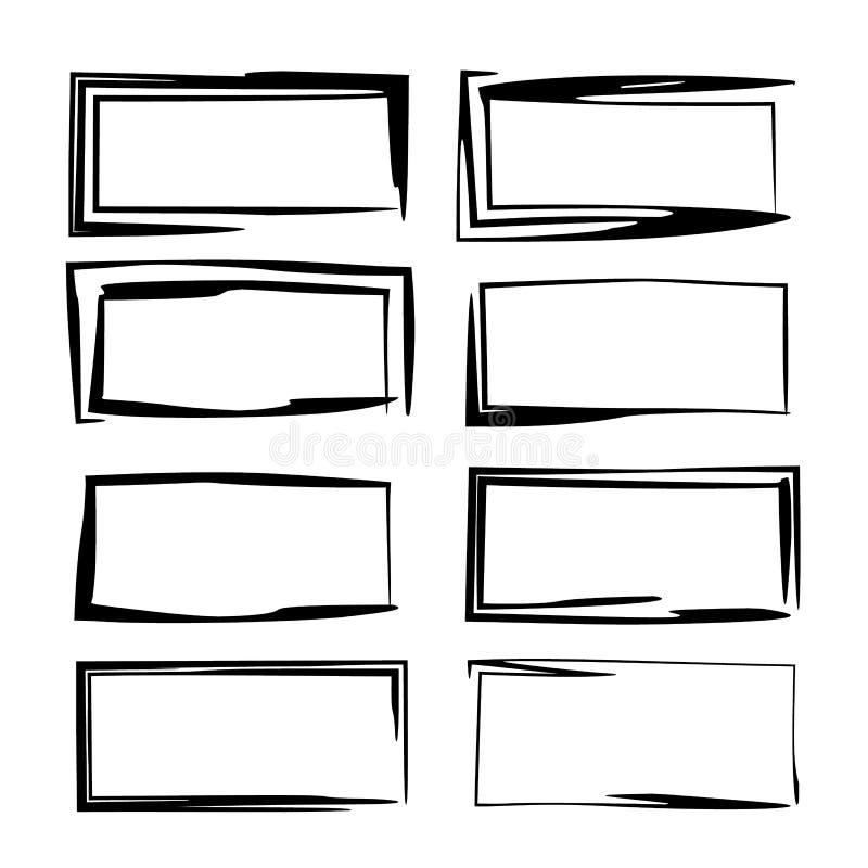 Set of black rectangle empy grunge frames. Vector illustration. vector illustration