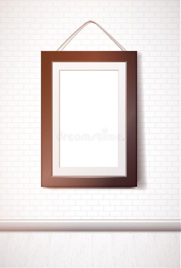 Black rectangular frame hanging on white brick wall stock illustration