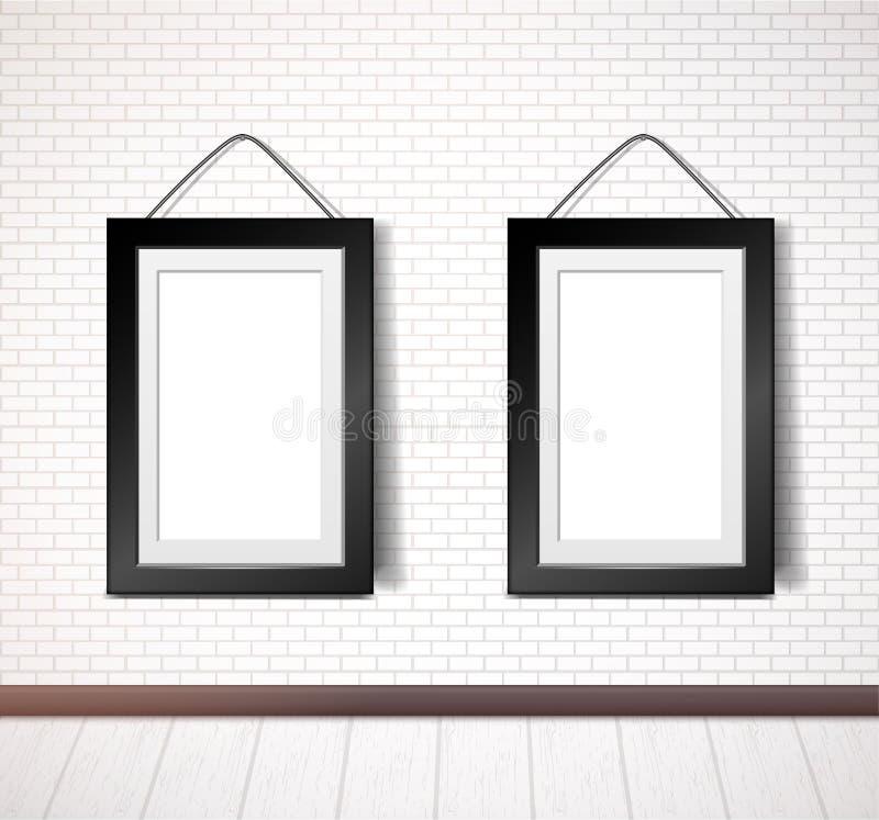 Black rectangular frame hanging on white brick wall royalty free illustration