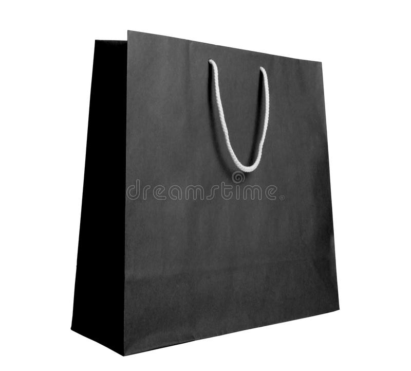 Black recycle paper shopping bag. On white background royalty free stock photos
