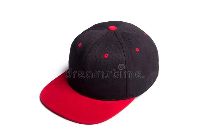 Black and red baseball cap isolated royalty free stock photos