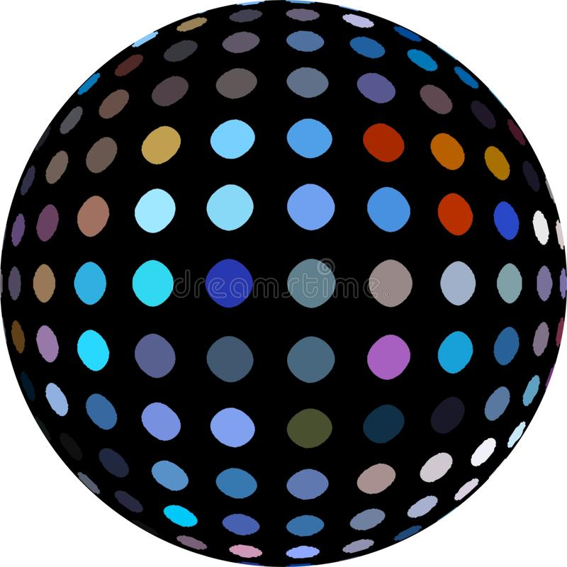 Black red blue mosaic sphere 3d element isolated. Macro globe abstract object. stock illustration