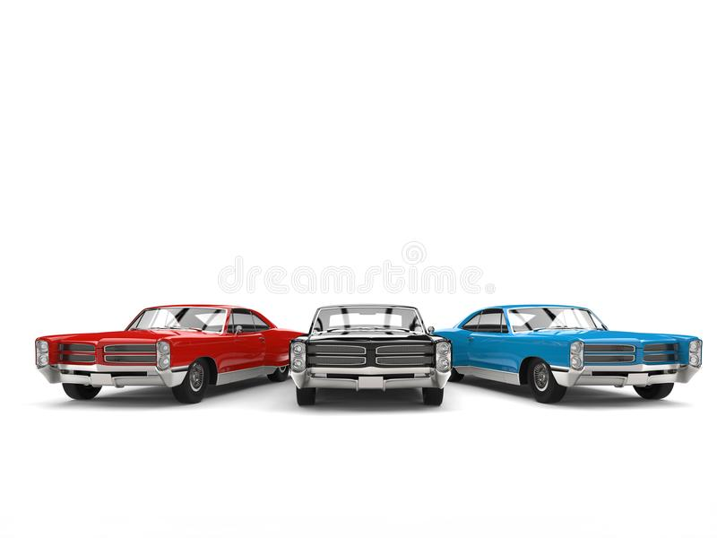Black, red and blue vintage cars - front view royalty free illustration